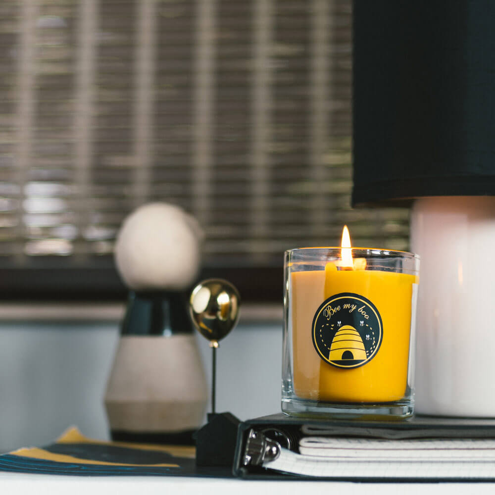 Natural Beeswax Glass Candle